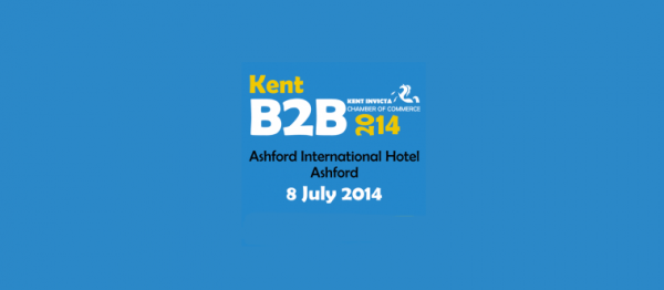 The logo for the B2B exhibition in Ashford in 2014 on a blue background.
