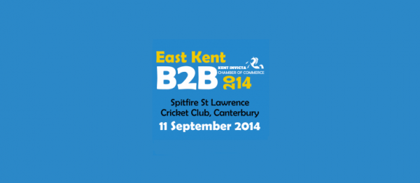 The logo for the B2B exhibition in Canterbury in 2014 on a blue background.