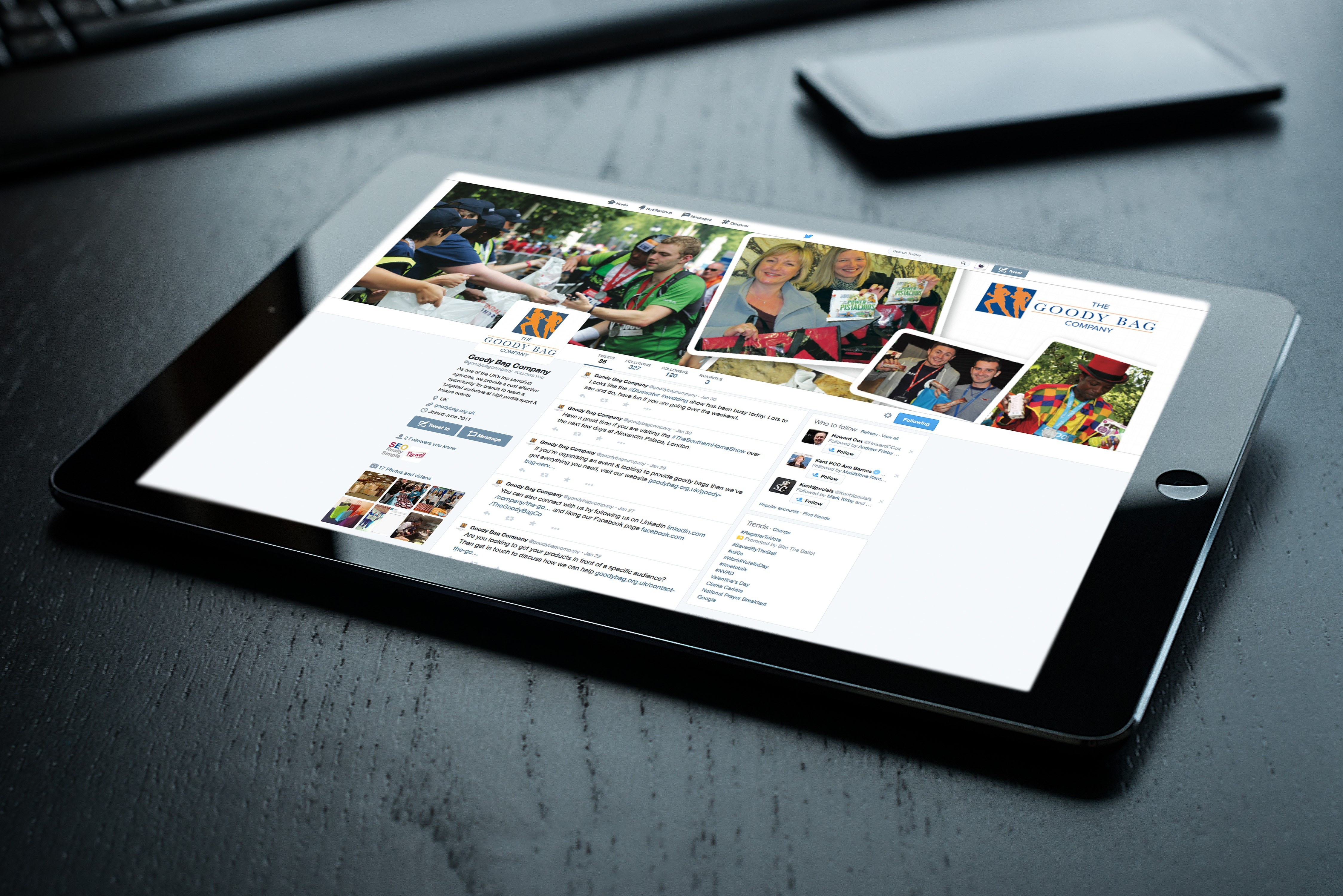 An image showing a tablet computer (iPad) sitting on a desk with the Goodybag Twitter page showing on it.