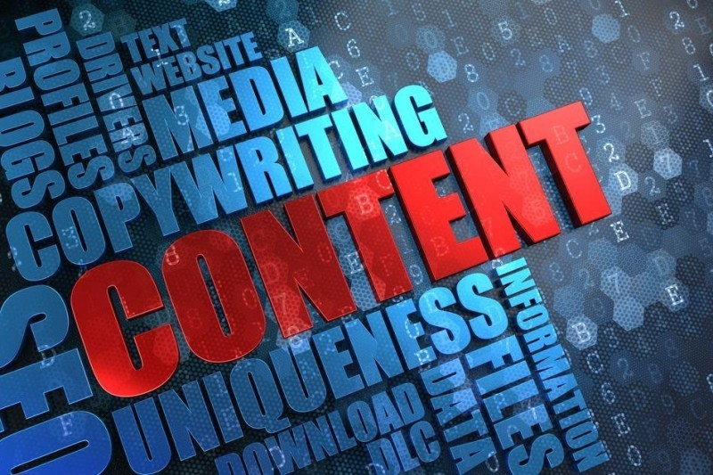 "An image of a solid tag cloud predominantly in blue but with the word ""Content"" picked out in red."