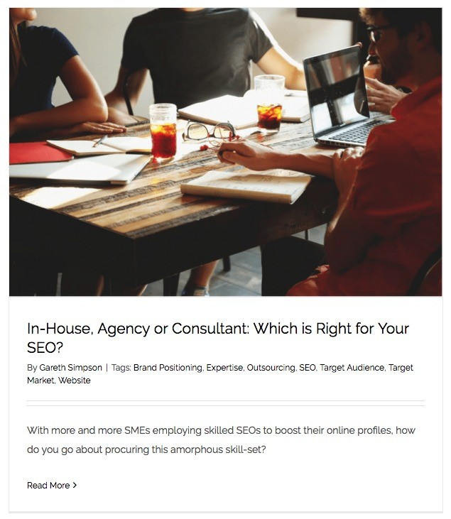 A screen grab of the image used for Gareth Simpsons first article relating to SEO. It's an image of several people around a table discussing business.