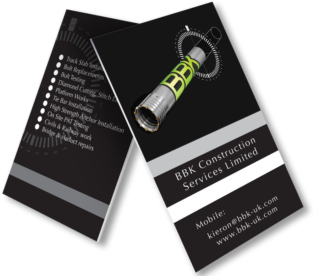 An illustration showing the front and back design of the BBK Construction Services business cards.