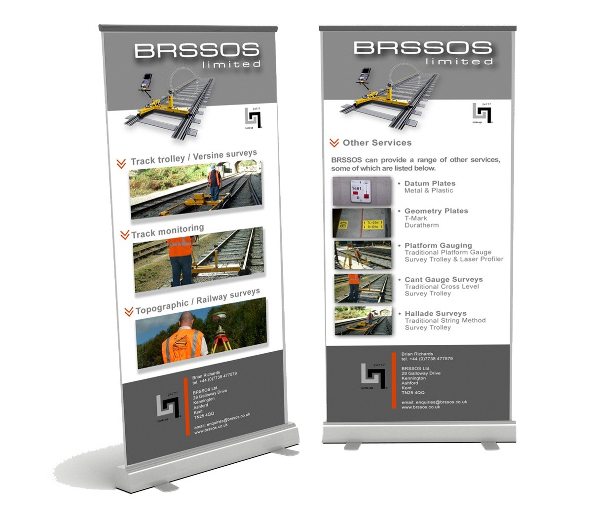 An image showing the exhibition pull up banners designed for BROSSOS.