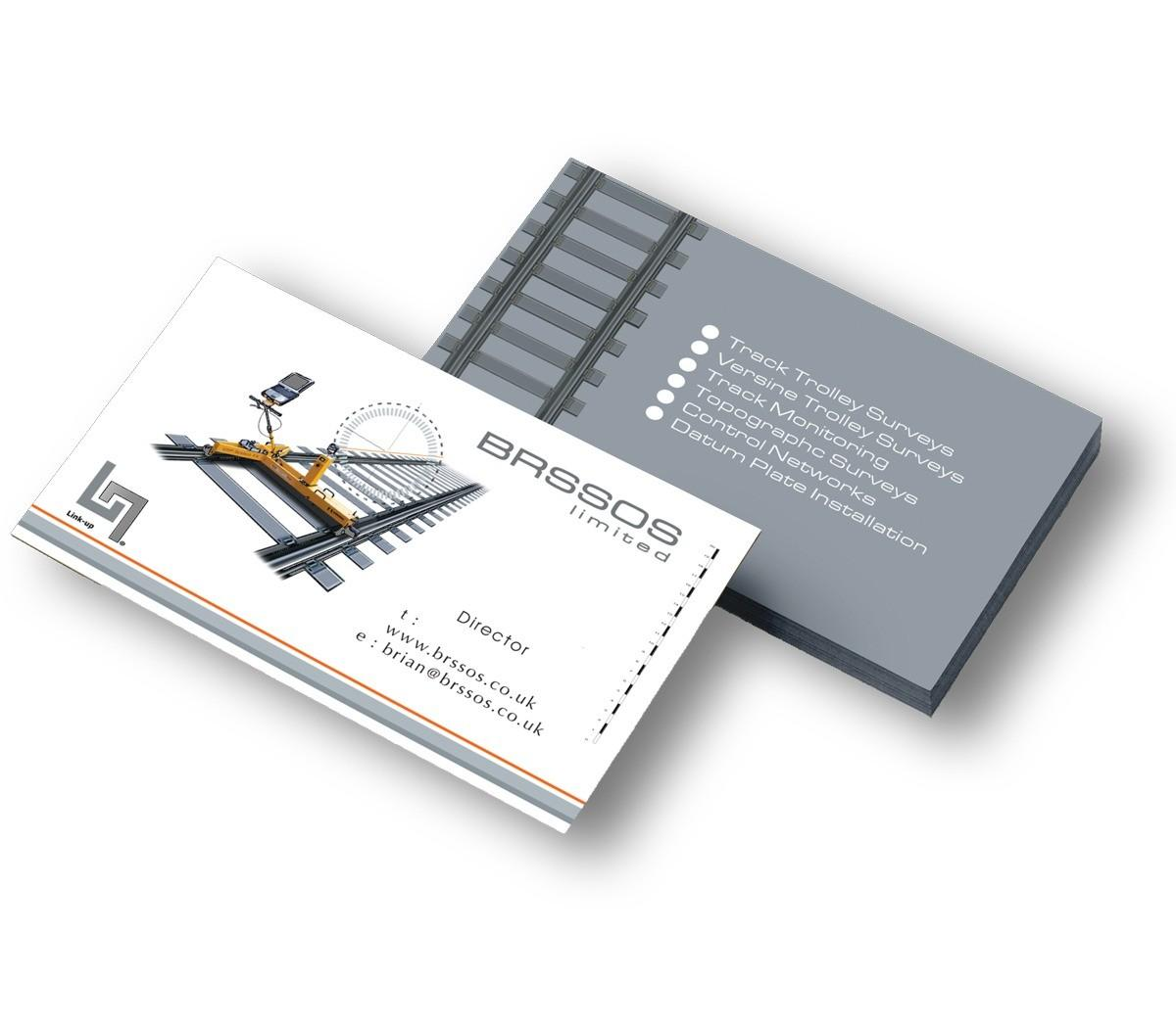 An illustration showing the front and back design of the BROSSOS business cards.