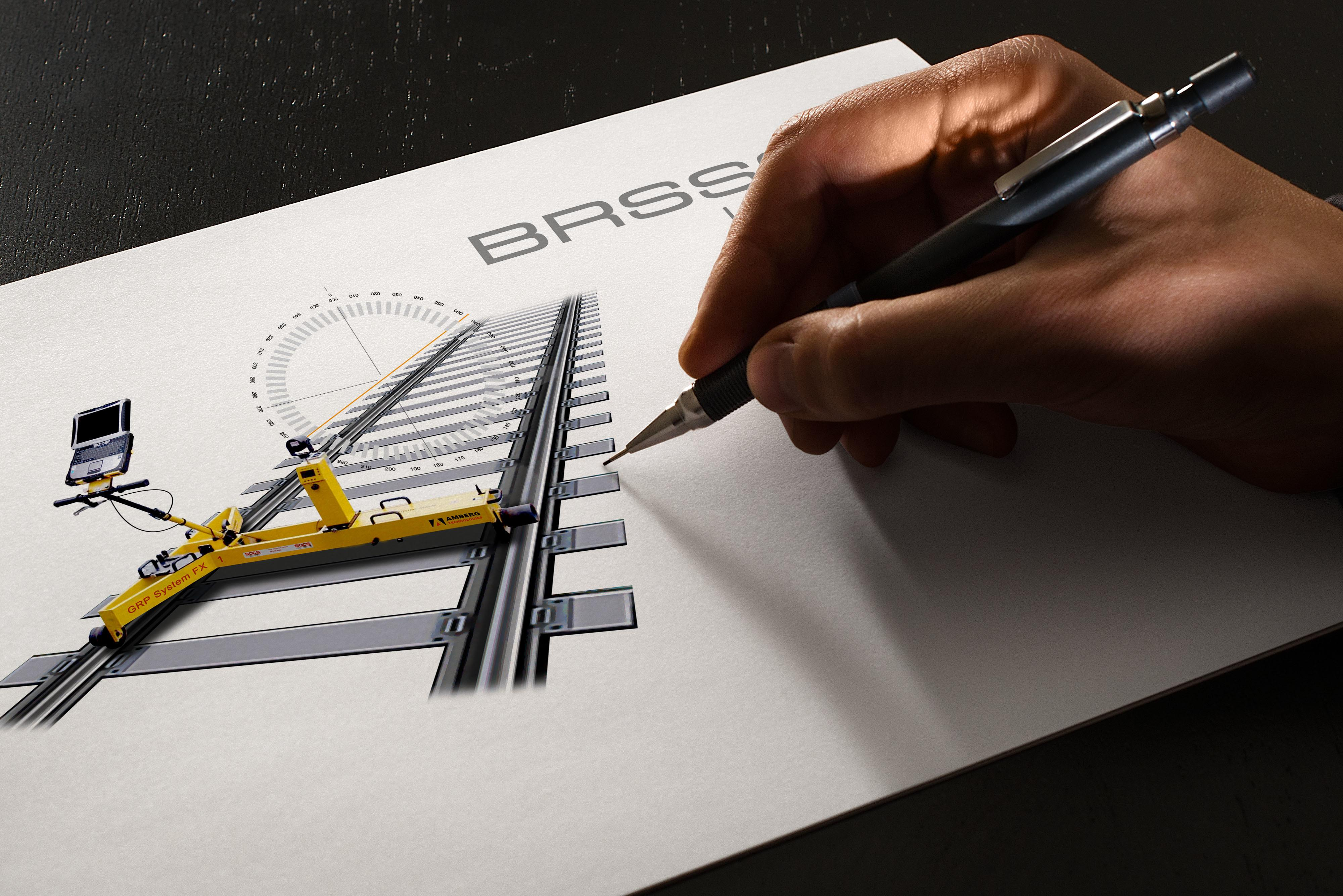 An image showing the final logo design for BROSSOS on a sketchpad with a persons hand holding a pencil on the right.