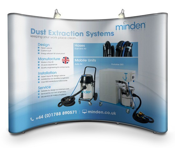 An illustration depicting the design created for a pop up display exhibition stand for Minden Systems