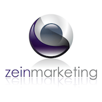 The Zein Marketing logo which is a circle which is a stylised version of yin and yang with a white and purple outer and a central grey ball. It was the words Zein Marketing all in lower case and with no spacing so as if it was one word.