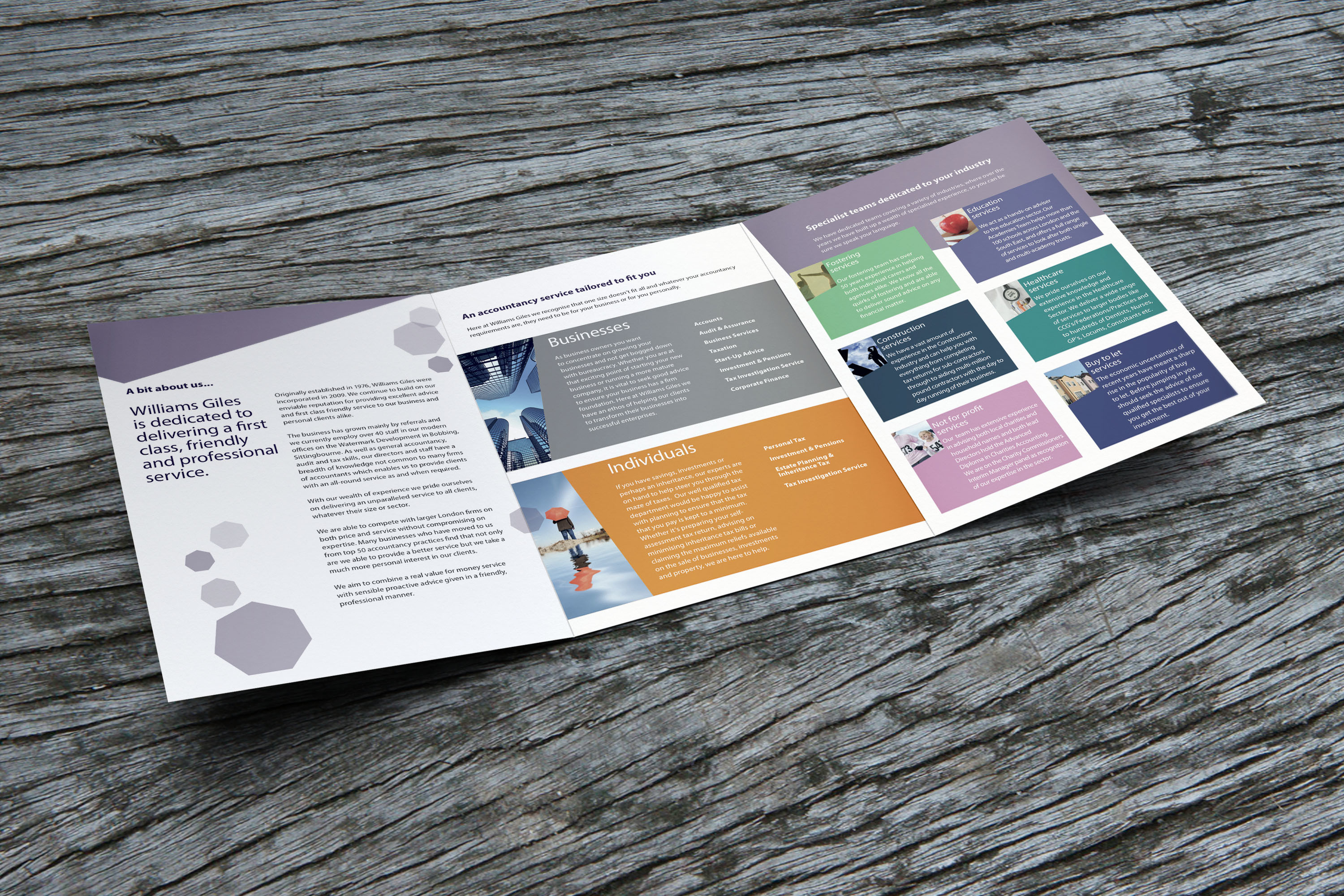 An image showing the open six page brochure designed for Williams Giles