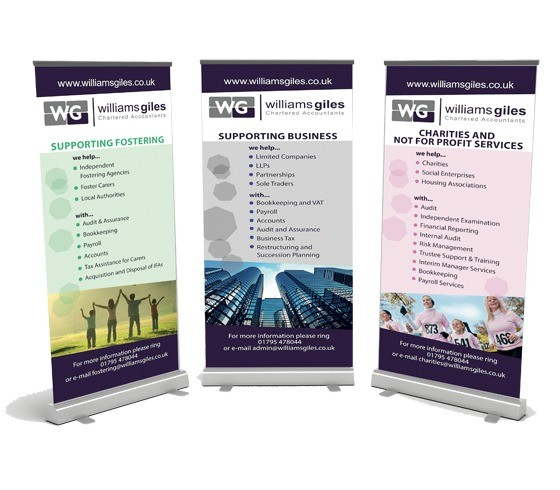 An image showing the three exhibition pull up banners designed for Williams Giles