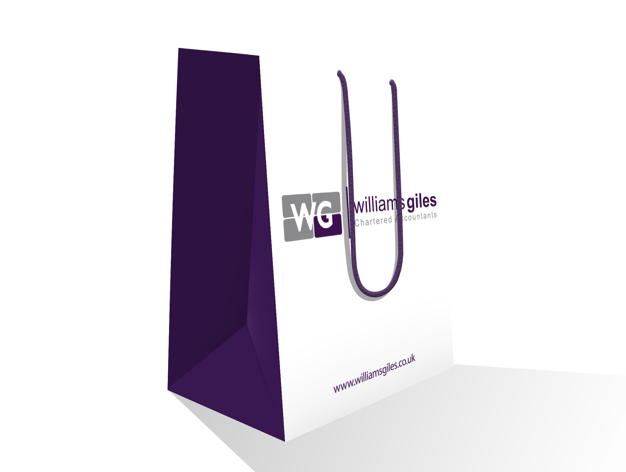 An illustration of the Williams Giles paper bags used for exhibitions. They are white on the front and back with the Williams Giles logo on them, and purple on the sides with a purple handle.