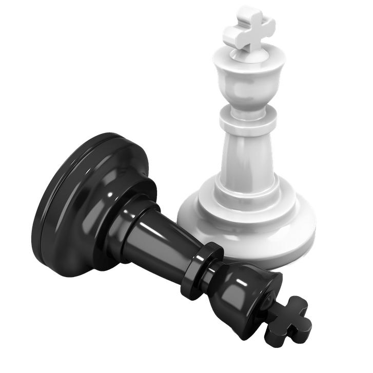 An image of two chess pieces, one black which is laying down, and one white which is upright.