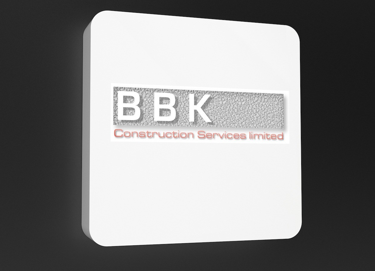 A conceptual design for a BBK logo on a white sign.