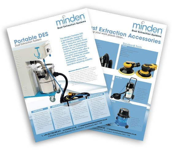 An image of two leaflets designed for Minden Systems. Shown fro above they arranged like a fan.