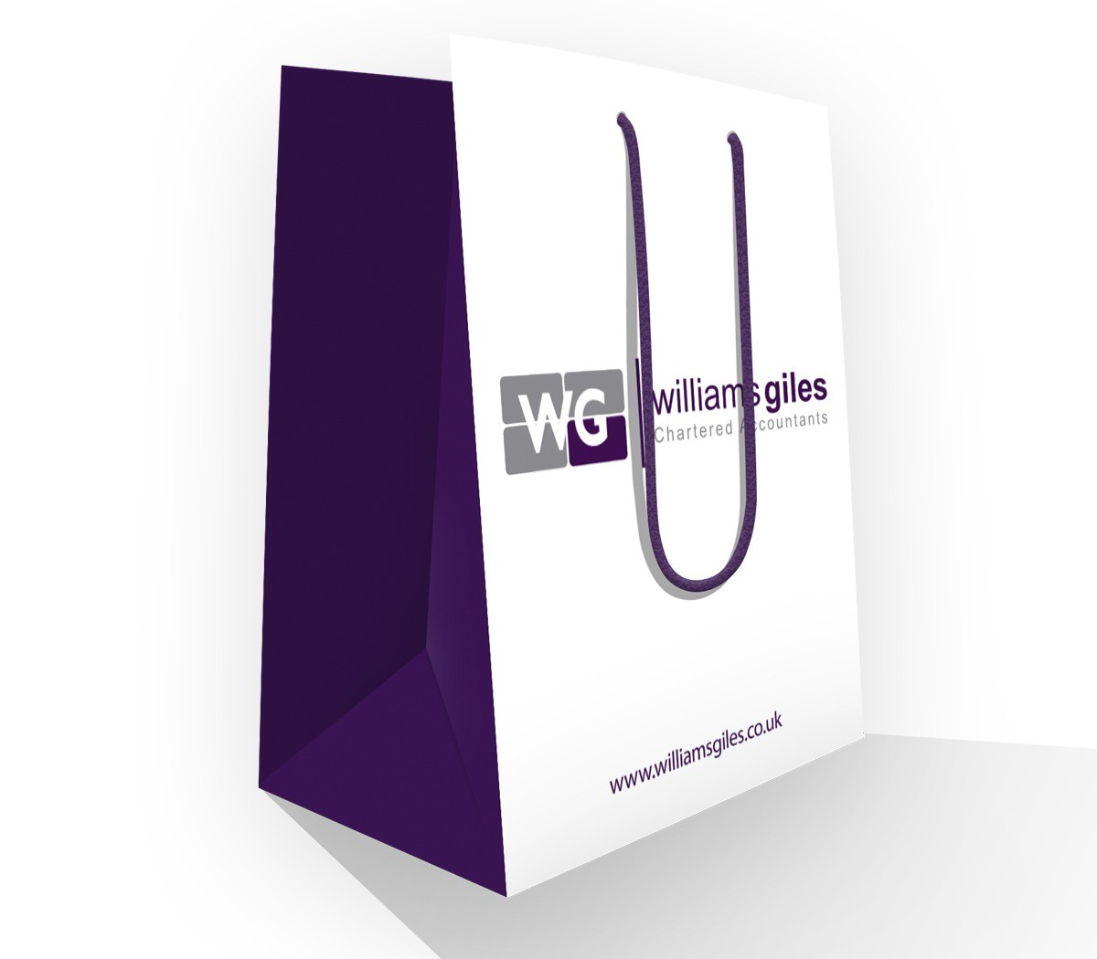 An illustration of a bag designed for Williams Giles and used at exhibitions. It is white on the front and back with purple sides and handles. The Williams Giles logo is shown on the front and back.