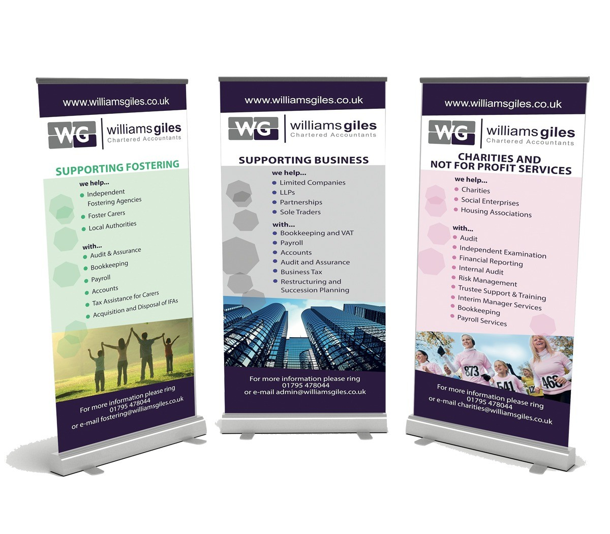 An image showing Williams Giles's exhibition pull-up banners.