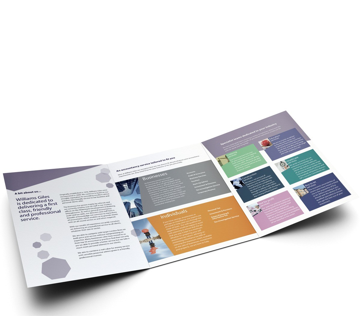 An image showing the open 6 page brochure designed for Williams Giles