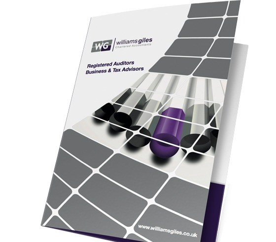 An image of the Folder designed for Williams Giles to hold their leaflets.
