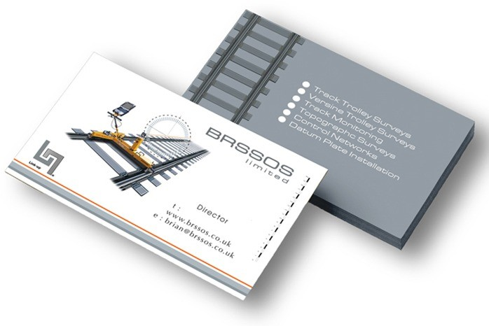 An image of 2 stacks of business cards showing the front and back design for BROSSOS.