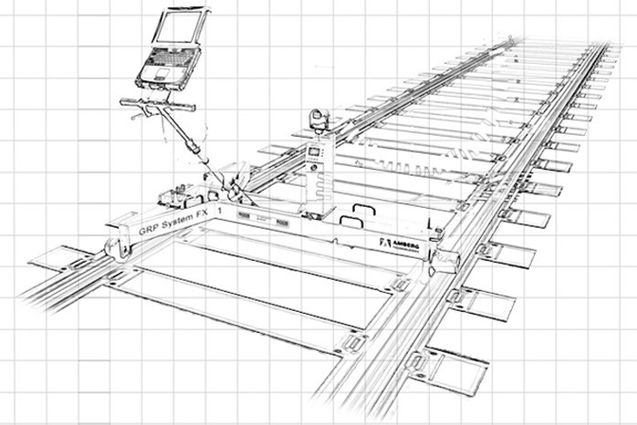 A pencil sketch depicting a rail track and the trolley that BROSSOS use to measure railways.