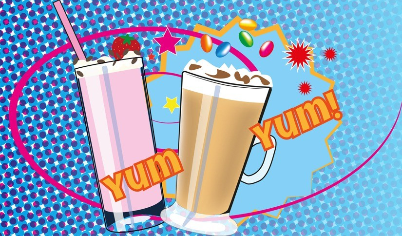 A pop art illustration of two glasses on a blue background, one glass is a strawberry milkshake the other is an iced frappe.