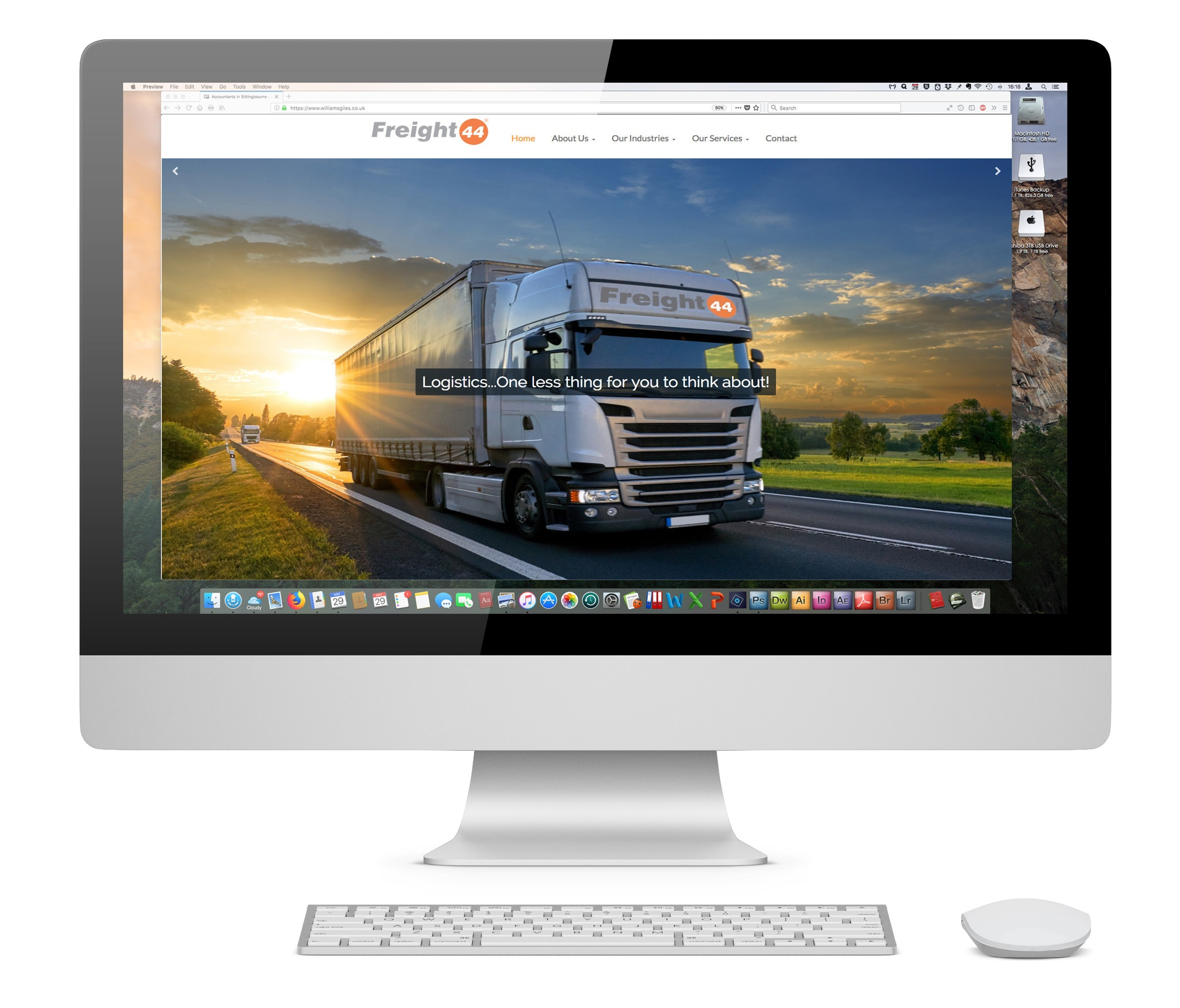 An iMac with the Freight 44 website home page open on it.